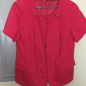Red dress jacket with large accent buttons